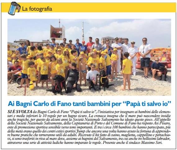 Ai Bagni Carlo di Fano tanti bimbi del Jump per il progetto di salvamento by Il Resto Del Carlino