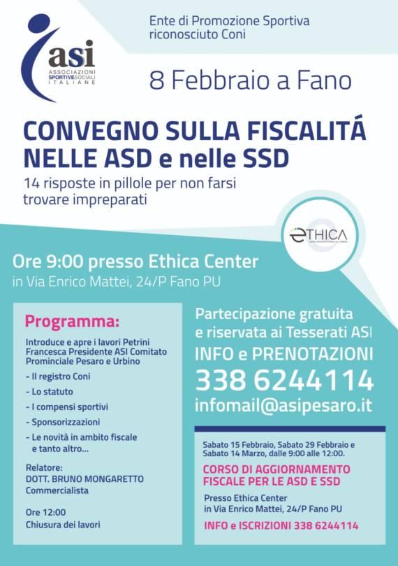 1º Convegno sulla fiscalità per ASD/SSD – Sabato 8 febbraio 2020