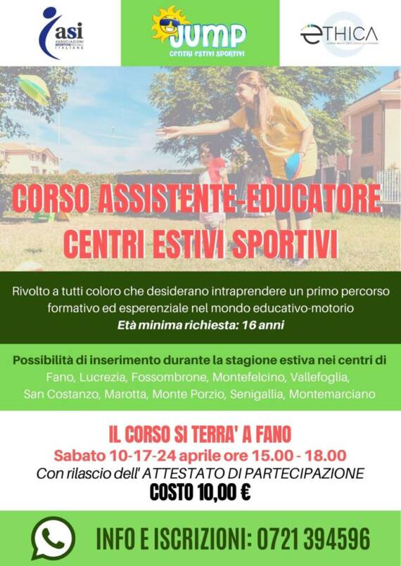 Corso per Assistente – Educatore in Centri Estivi Sportivi