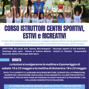 """Corso per Istruttore in """"Centri Estivi Sportivi e Ricreativi"""""""